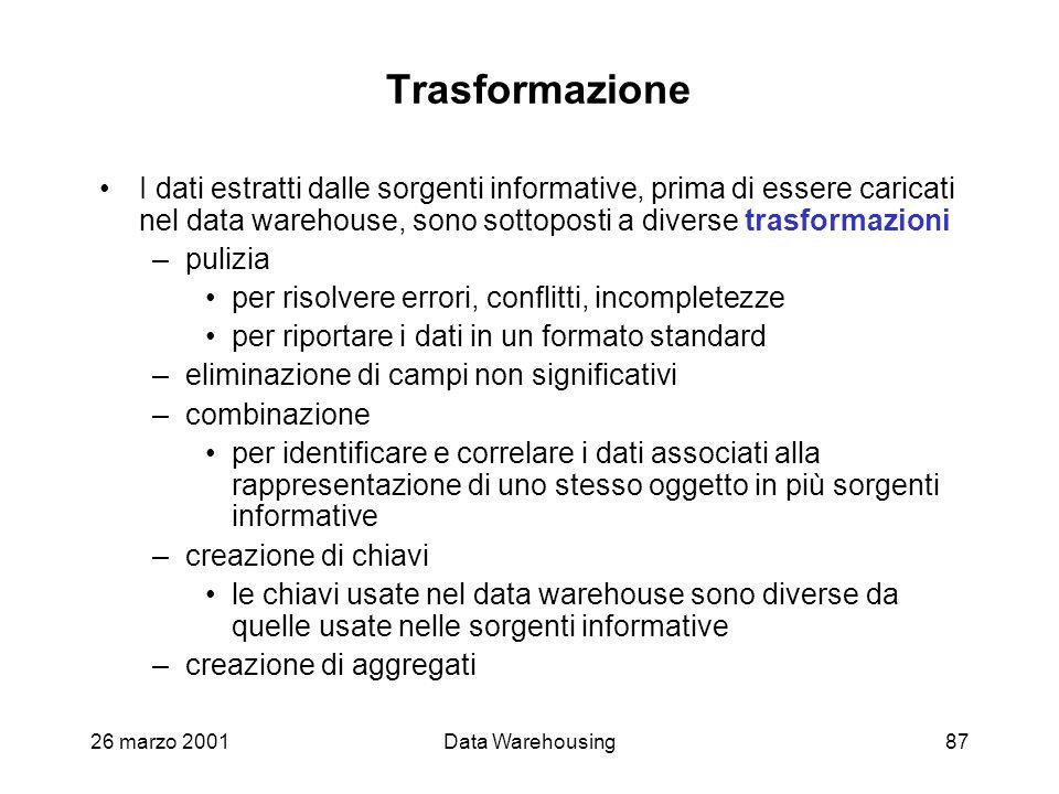 26 marzo 2001Data Warehousing87 Trasformazione I dati estratti dalle sorgenti informative, prima di essere caricati nel data warehouse, sono sottopost