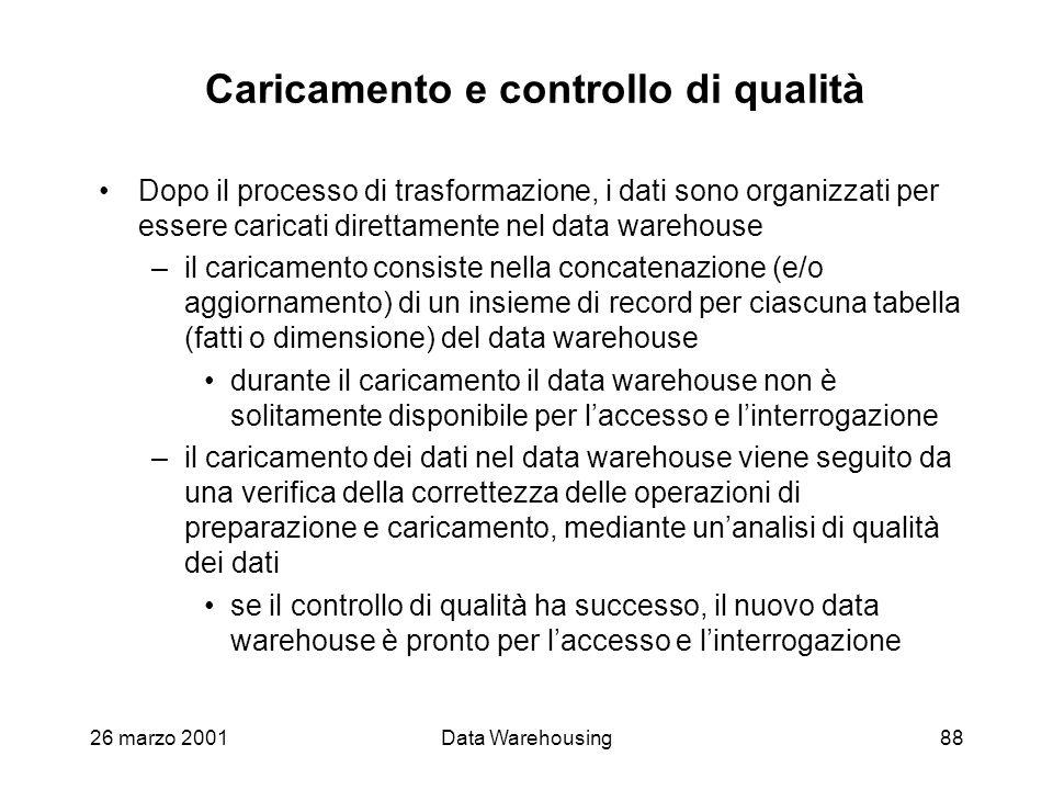26 marzo 2001Data Warehousing88 Caricamento e controllo di qualità Dopo il processo di trasformazione, i dati sono organizzati per essere caricati dir