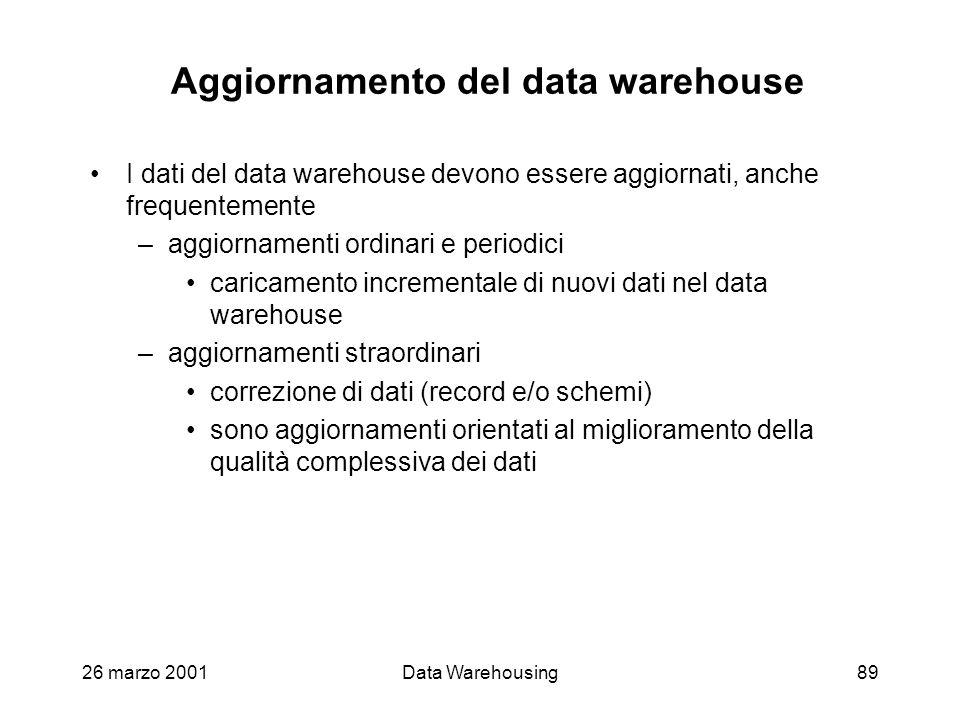 26 marzo 2001Data Warehousing89 Aggiornamento del data warehouse I dati del data warehouse devono essere aggiornati, anche frequentemente –aggiornamen