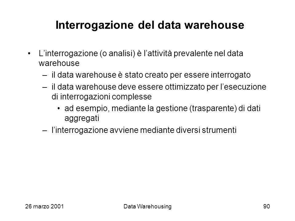 26 marzo 2001Data Warehousing90 Interrogazione del data warehouse Linterrogazione (o analisi) è lattività prevalente nel data warehouse –il data wareh