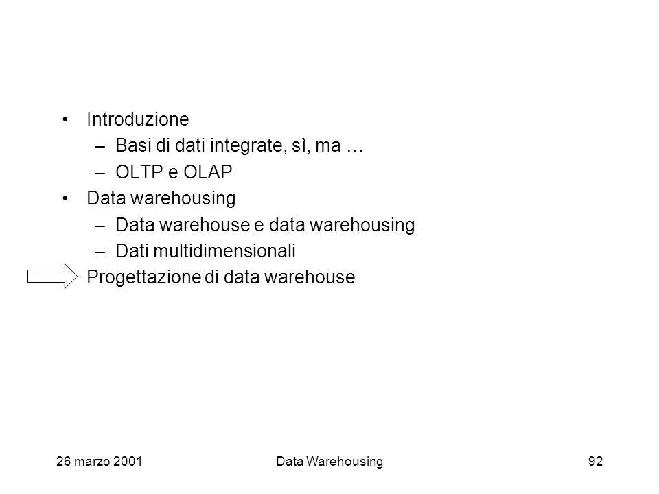 26 marzo 2001Data Warehousing92 Introduzione –Basi di dati integrate, sì, ma … –OLTP e OLAP Data warehousing –Data warehouse e data warehousing –Dati