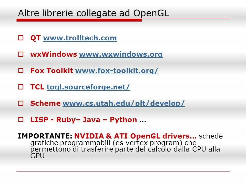 Altre librerie collegate ad OpenGL QT www.trolltech.comwww.trolltech.com wxWindows www.wxwindows.orgwww.wxwindows.org Fox Toolkit www.fox-toolkit.org/www.fox-toolkit.org/ TCL togl.sourceforge.net/ Scheme www.cs.utah.edu/plt/develop/ LISP - Ruby– Java – Python … IMPORTANTE: NVIDIA & ATI OpenGL drivers… schede grafiche programmabili (es vertex program) che permettono di trasferire parte del calcolo dalla CPU alla GPU