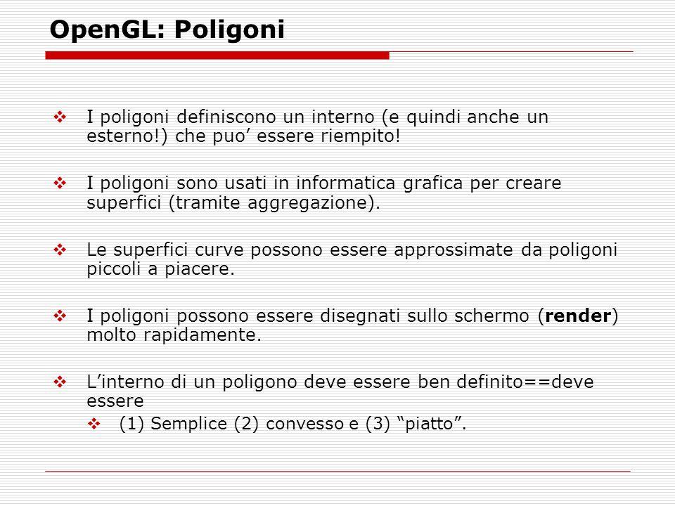 OpenGL: Poligoni I poligoni definiscono un interno (e quindi anche un esterno!) che puo essere riempito.