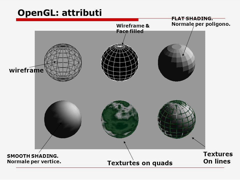 OpenGL: attributi FLAT SHADING. Normale per poligono.