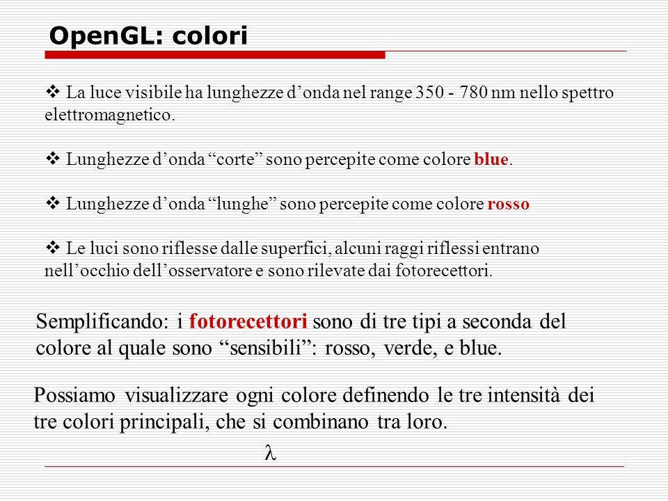 OpenGL: colori La luce visibile ha lunghezze donda nel range 350 - 780 nm nello spettro elettromagnetico.