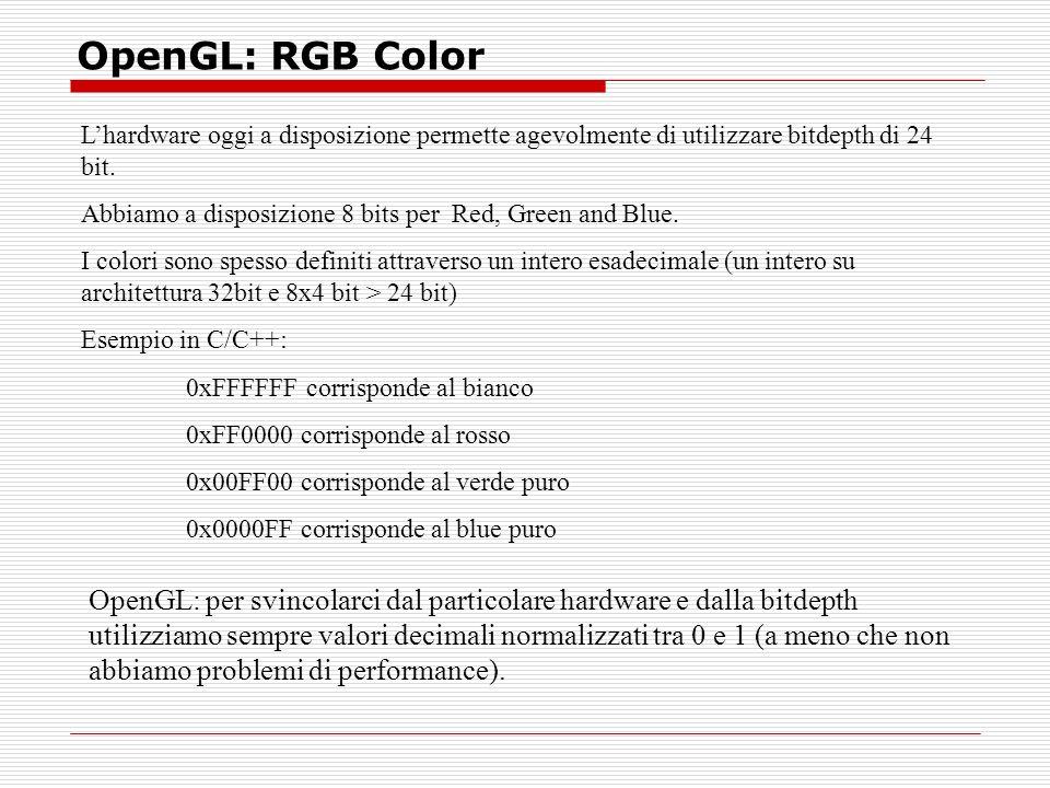 OpenGL: RGB Color Lhardware oggi a disposizione permette agevolmente di utilizzare bitdepth di 24 bit.