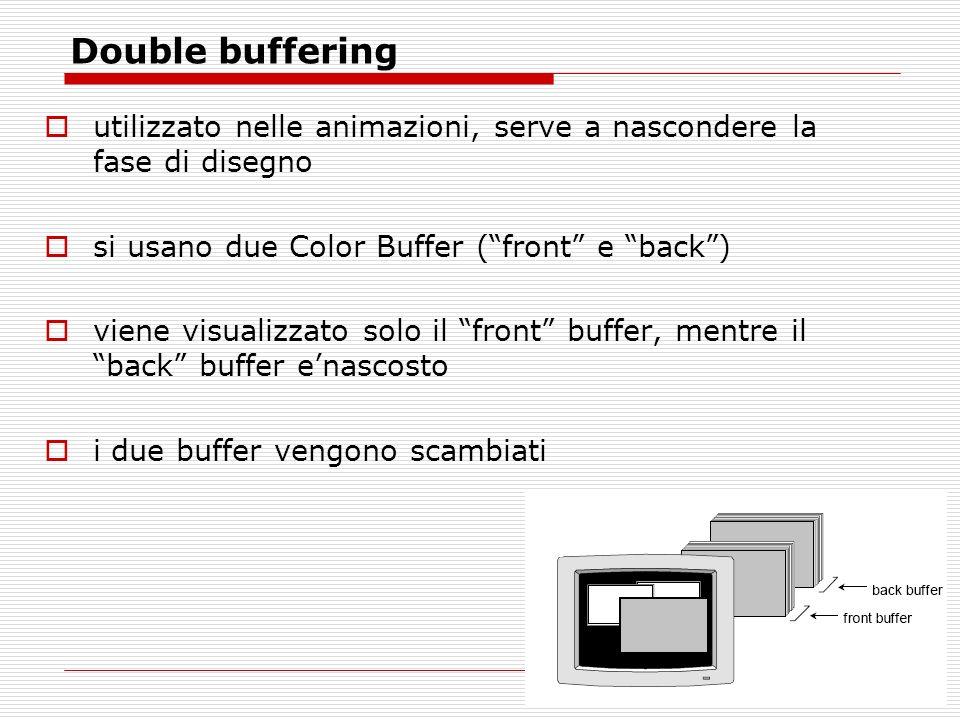 Double buffering utilizzato nelle animazioni, serve a nascondere la fase di disegno si usano due Color Buffer (front e back) viene visualizzato solo il front buffer, mentre il back buffer enascosto i due buffer vengono scambiati