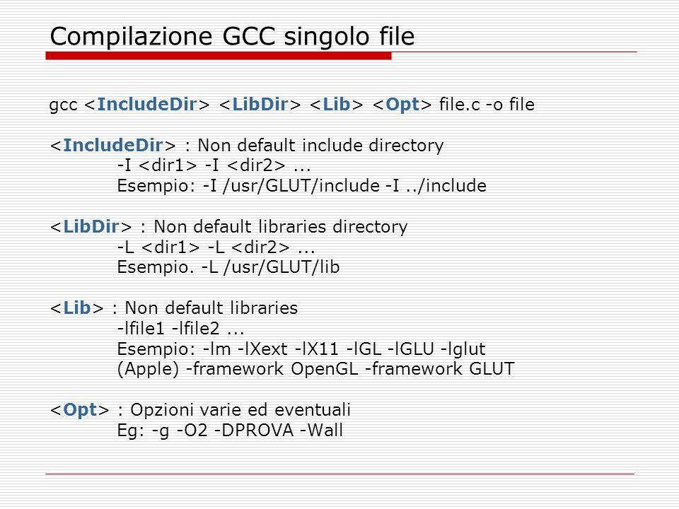 OpenGL: Shading Models Una linea o un poligono pieno puo essere disegnata con un colore singolo o con colori differenti Oggetti disegnati con un solo colore sono detti flat shaded Oggetti disegnati con diversi colori sono detti smooth shaded glShadeModel( GL_FLAT ) ; glBegin( GL_POLYGON ); glColor3fv( red ); glVertex2f( 0.7, 0.8 ); glVertex2f( 0.1, 0.1 ); glVertex2f( 0.9, 0.1 ); glEnd(); glShadeModel( GL_SMOOTH ); glBegin( GL_POLYGON ); glColor3fv( red ); glVertex2f( 0.7, 0.8 ); glColor3fv( white ); glVertex2f( 0.1, 0.1 ); glVertex2f( 0.9, 0.1 ); glEnd();
