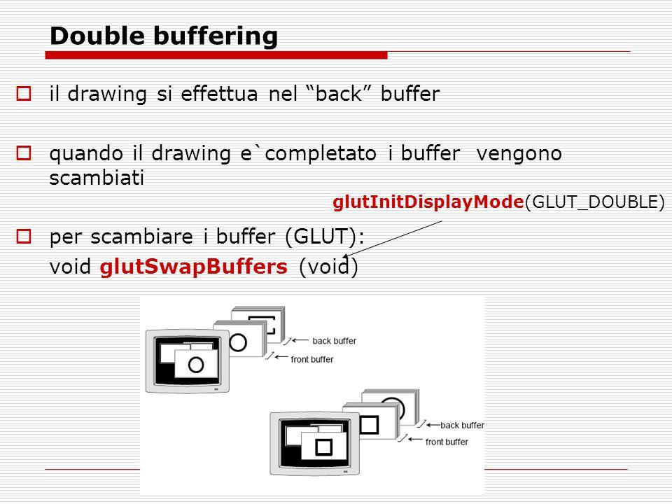 Double buffering il drawing si effettua nel back buffer quando il drawing e`completato i buffer vengono scambiati per scambiare i buffer (GLUT): void glutSwapBuffers (void) glutInitDisplayMode(GLUT_DOUBLE)