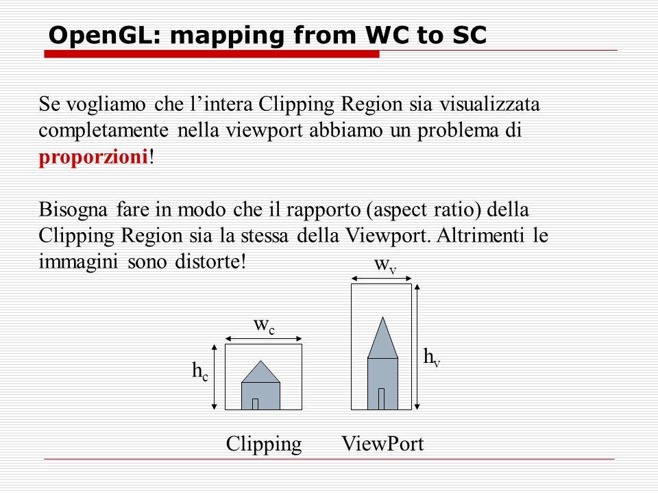 OpenGL: mapping from WC to SC Se vogliamo che lintera Clipping Region sia visualizzata completamente nella viewport abbiamo un problema di proporzioni.