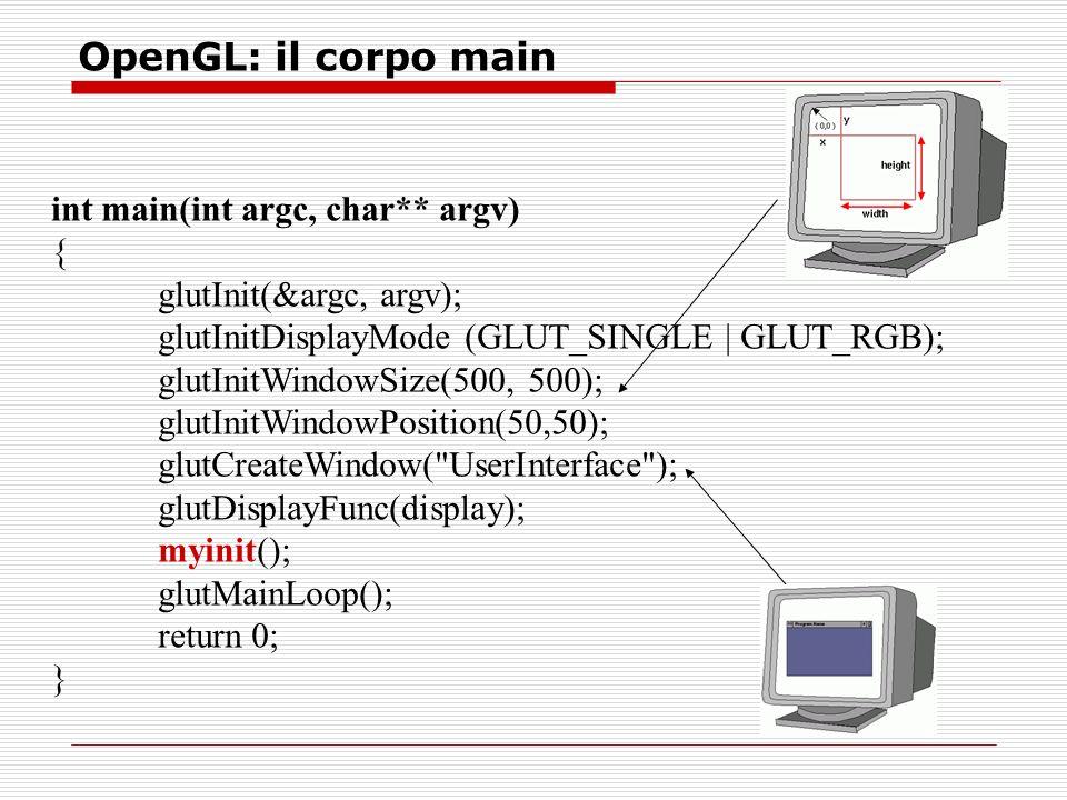 OpenGL: il corpo main int main(int argc, char** argv) { glutInit(&argc, argv); glutInitDisplayMode (GLUT_SINGLE | GLUT_RGB); glutInitWindowSize(500, 500); glutInitWindowPosition(50,50); glutCreateWindow( UserInterface ); glutDisplayFunc(display); myinit(); glutMainLoop(); return 0; }