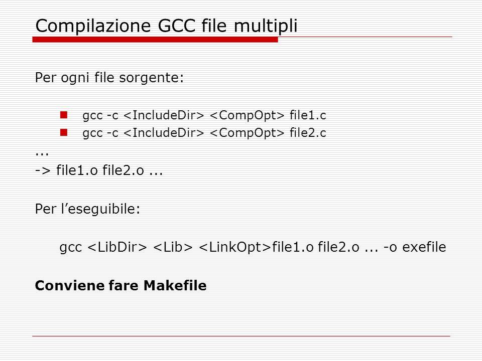 Compilazione GCC file multipli Per ogni file sorgente: gcc -c file1.c gcc -c file2.c...