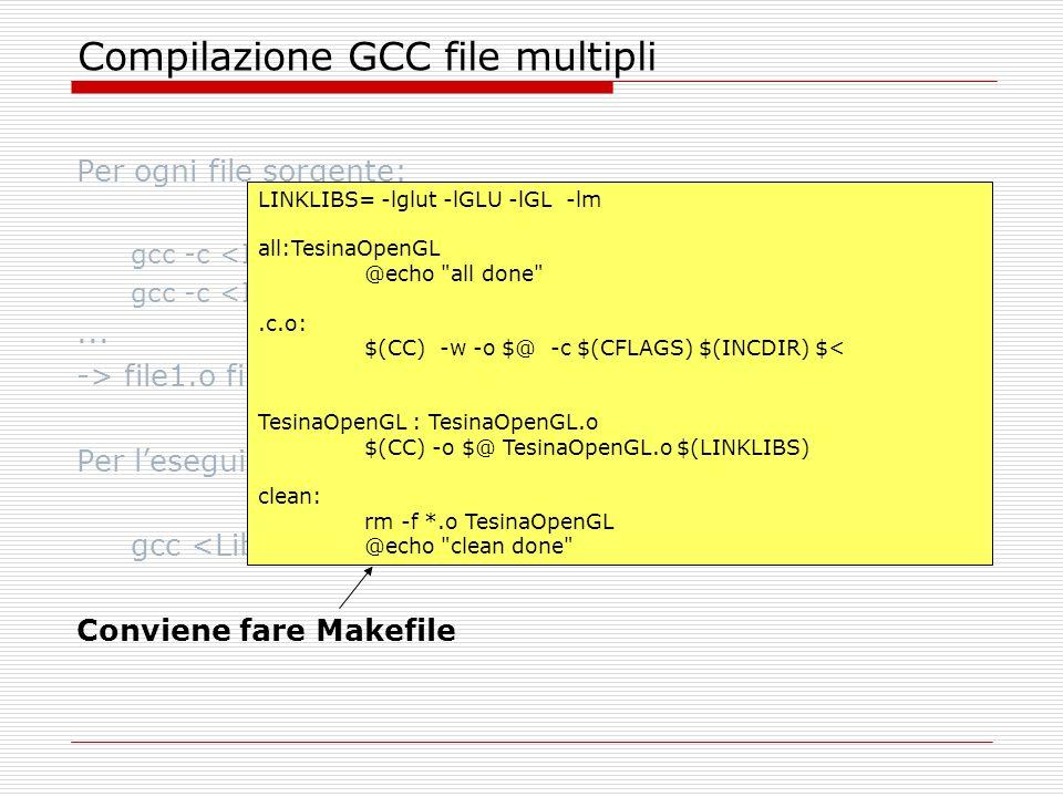 OpenGL: specificare il clipping volume In 3D: void glOrtho(GLdouble left, GLdouble right, GLdouble bottom, GLdouble top, GLdouble near, GLdouble far); In 2D: void glOrtho2D(GLdouble left, GLdouble right, GLdouble bottom, GLdouble top); (glOrtho2D e un alias a glOrtho che setta I parametri near and far a -1.0 e 1.0)