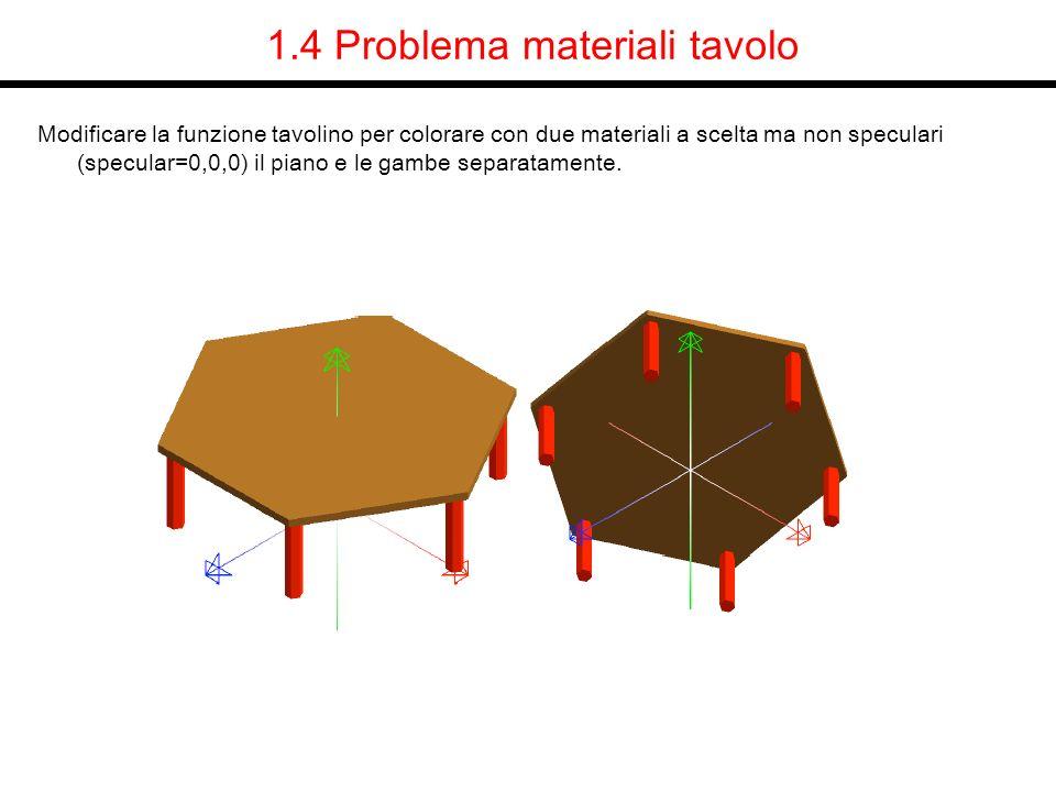 1.4 Problema materiali tavolo Modificare la funzione tavolino per colorare con due materiali a scelta ma non speculari (specular=0,0,0) il piano e le