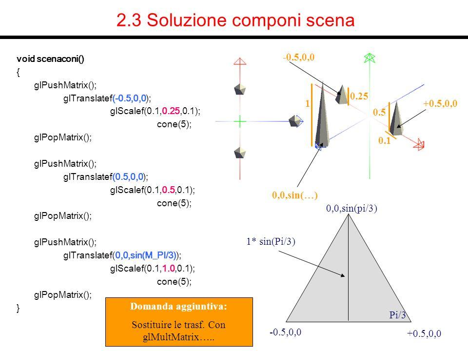 2.3 Soluzione componi scena void scenaconi() { glPushMatrix(); glTranslatef(-0.5,0,0); glScalef(0.1,0.25,0.1); cone(5); glPopMatrix(); glPushMatrix();