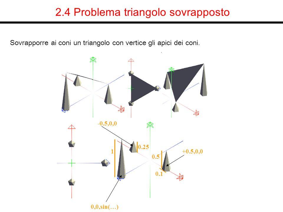 2.4 Problema triangolo sovrapposto Sovrapporre ai coni un triangolo con vertice gli apici dei coni. -0.5,0,0 +0.5,0,0 0,0,sin( … ) 0.1 0.5 0.25 1