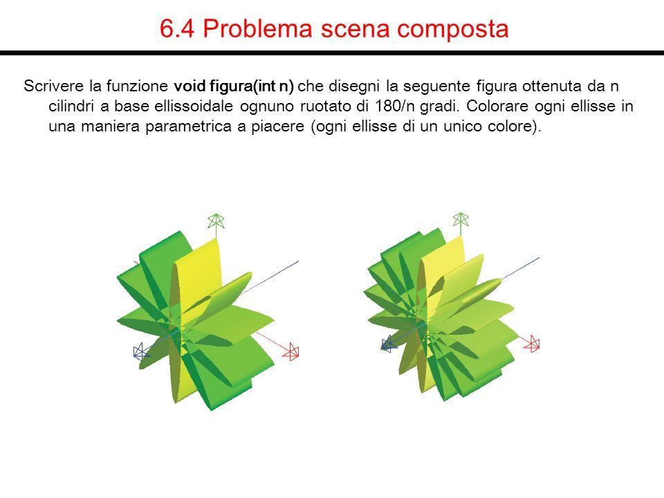 6.4 Problema scena composta Scrivere la funzione void figura(int n) che disegni la seguente figura ottenuta da n cilindri a base ellissoidale ognuno r