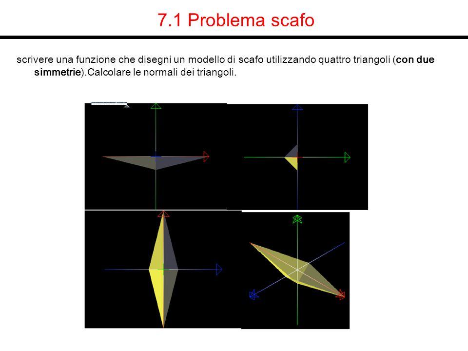7.1 Problema scafo scrivere una funzione che disegni un modello di scafo utilizzando quattro triangoli (con due simmetrie).Calcolare le normali dei tr