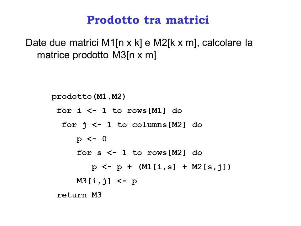 Prodotto tra matrici Date due matrici M1[n x k] e M2[k x m], calcolare la matrice prodotto M3[n x m] prodotto(M1,M2) for i <- 1 to rows[M1] do for j <- 1 to columns[M2] do p <- 0 for s <- 1 to rows[M2] do p <- p + (M1[i,s] + M2[s,j]) M3[i,j] <- p return M3