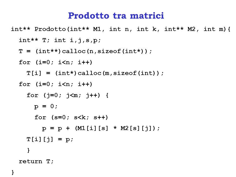 Prodotto tra matrici int** Prodotto(int** M1, int n, int k, int** M2, int m){ int** T; int i,j,s,p; T = (int**)calloc(n,sizeof(int*)); for (i=0; i<n; i++) T[i] = (int*)calloc(m,sizeof(int)); for (i=0; i<n; i++) for (j=0; j<m; j++) { p = 0; for (s=0; s<k; s++) p = p + (M1[i][s] * M2[s][j]); T[i][j] = p; } return T; }