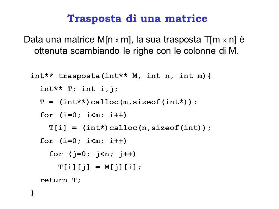 Trasposta di una matrice Data una matrice M[n x m], la sua trasposta T[m x n] è ottenuta scambiando le righe con le colonne di M. int** trasposta(int*