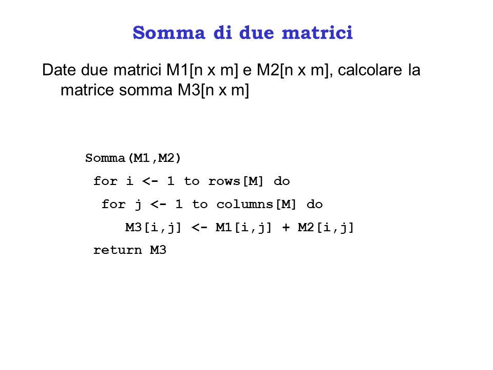 Somma di due matrici Date due matrici M1[n x m] e M2[n x m], calcolare la matrice somma M3[n x m] int** somma(int** M1, int n, int m, int** M2){ int** M3; int i,j; M3 = (int**)calloc(n,sizeof(int*)); for (i=0; i<n; i++) M3[i] = (int*)calloc(m,sizeof(int)); for (i=0; i<n; i++) for (j=0; j<m; j++) M3[i][j] = M1[i][j] + M2[i][j]; return M3; }