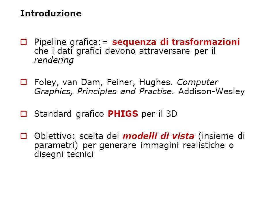 Introduzione Pipeline grafica:= sequenza di trasformazioni che i dati grafici devono attraversare per il rendering Foley, van Dam, Feiner, Hughes. Com