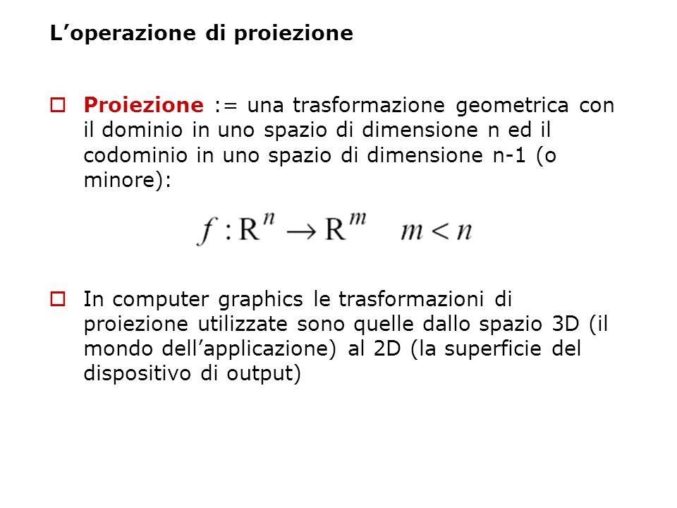 Loperazione di proiezione Proiezione := una trasformazione geometrica con il dominio in uno spazio di dimensione n ed il codominio in uno spazio di di
