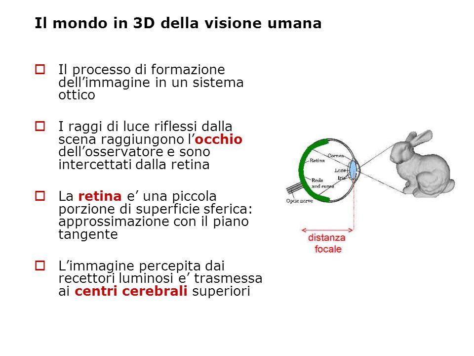 Il mondo in 3D della visione umana Il processo di formazione dellimmagine in un sistema ottico I raggi di luce riflessi dalla scena raggiungono locchi