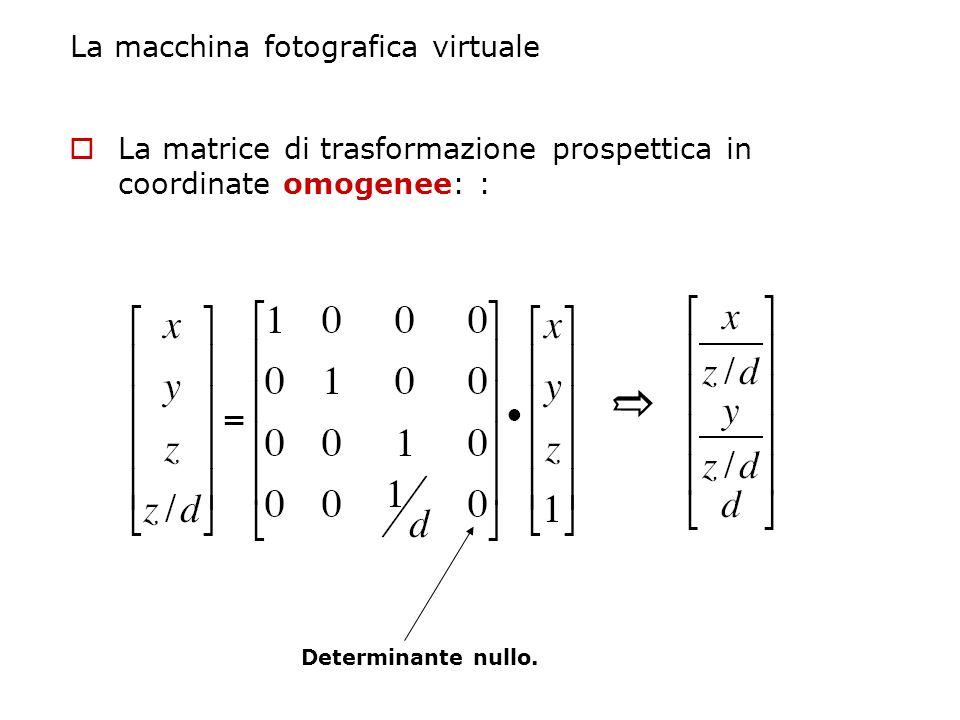 La macchina fotografica virtuale La matrice di trasformazione prospettica in coordinate omogenee: : Determinante nullo.
