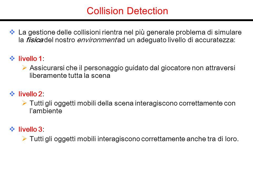 Collision Detection La gestione delle collisioni rientra nel più generale problema di simulare la fisica del nostro environment ad un adeguato livello