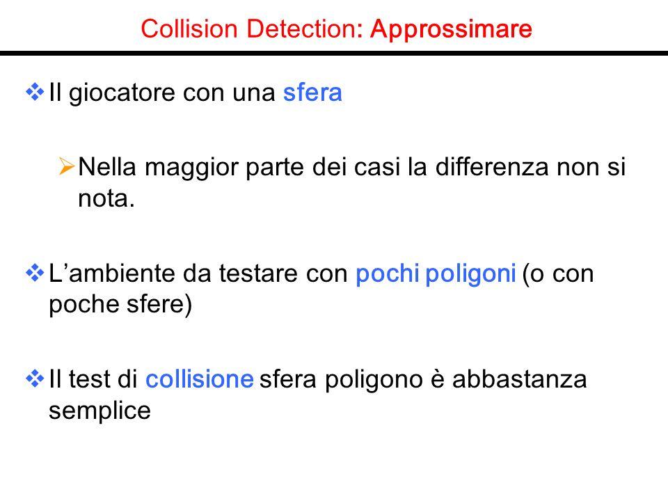 Collision Detection: Approssimare Il giocatore con una sfera Nella maggior parte dei casi la differenza non si nota. Lambiente da testare con pochi po
