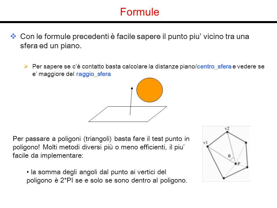 Formule Con le formule precedenti è facile sapere il punto piu vicino tra una sfera ed un piano. Per sapere se cè contatto basta calcolare la distanze