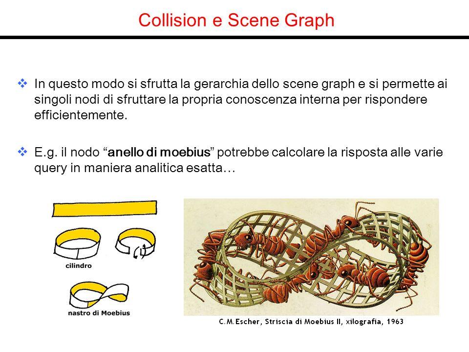 Collision e Scene Graph In questo modo si sfrutta la gerarchia dello scene graph e si permette ai singoli nodi di sfruttare la propria conoscenza interna per rispondere efficientemente.
