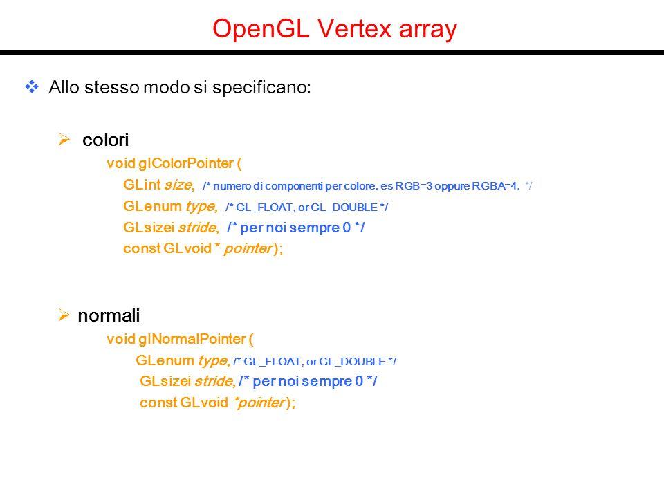 OpenGL Vertex array Allo stesso modo si specificano: colori void glColorPointer ( GLint size, /* numero di componenti per colore. es RGB=3 oppure RGBA