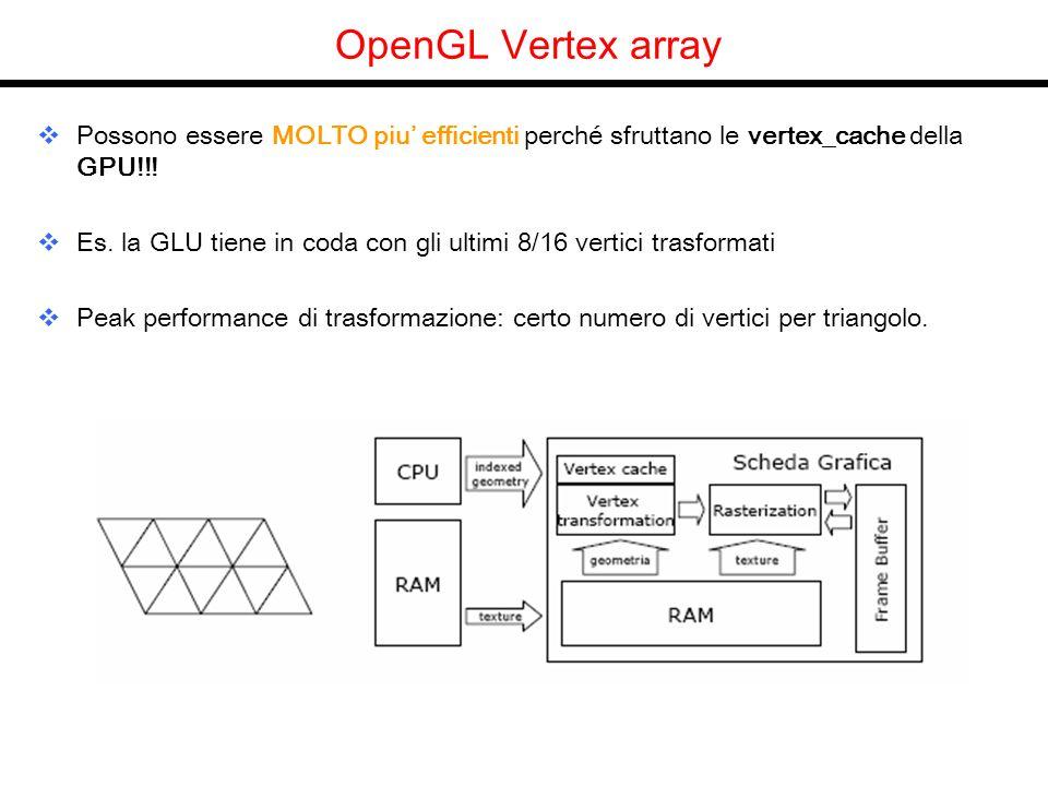 OpenGL Vertex array Possono essere MOLTO piu efficienti perché sfruttano le vertex_cache della GPU!!! Es. la GLU tiene in coda con gli ultimi 8/16 ver