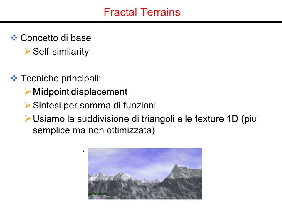 Fractal Terrains Concetto di base Self-similarity Tecniche principali: Midpoint displacement Sintesi per somma di funzioni Usiamo la suddivisione di t