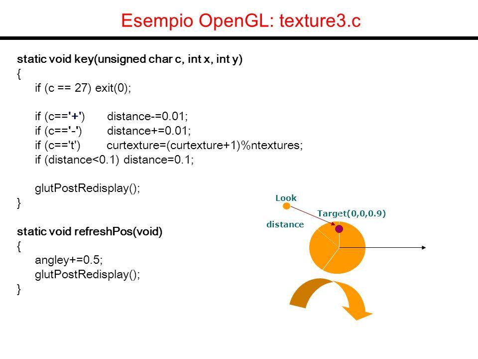 OpenGL Vertex array Per disegnare utilizzando gli array in maniera ancora piu efficiente: void glDrawElements( GLenum mode, GLsizei count, GLenum type, const GLvoid *indices ); mode e uno dei soliti GL_POINTS, GL_LINE_STRIP, GL_LINE_LOOP, GL_LINES, GL_TRIANGLE_STRIP, GL_TRIANGLE_FAN, GL_TRIANGLES, GL_QUAD_STRIP, GL_QUADS, and GL_POLYGON.