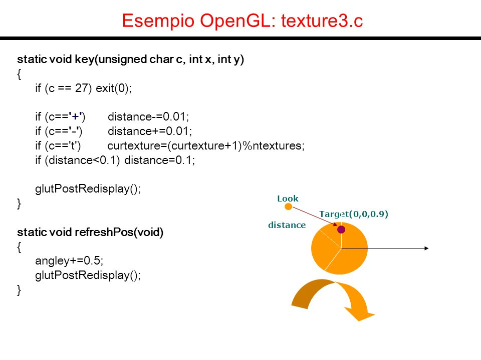 OpenGL Display List Allocazione: alloca n liste consecutive richiamabili con gli interi DL, DL+1, DL+1,.., DL+n-1 DL = glGenLists (n) ; Disallocazione glDeleteLists( DL, n );