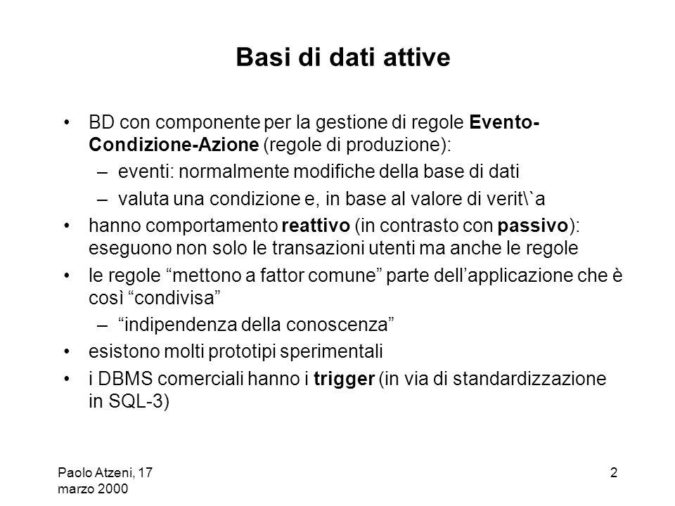 Paolo Atzeni, 17 marzo 2000 3 Trigger definiti con istruzioni DDL ( create trigger ) – basati sul paradigma evento-condizione-azione (ECA): evento: modifica dei dati, specificata con insert, delete, update condizione (opzionale) predicato SQL azione: sequenza di istruzioni SQL (o estensioni, ad esempio PL/SQL in Oracle) –intuitivamente: quando si verifica levento (attivazione) se la condizione è soddisfatta (considerazione) allora esegui lazione (esecuzione) –ogni trigger fa riferimento ad una tabella (target): risponde ad eventi relativi a tale tabella