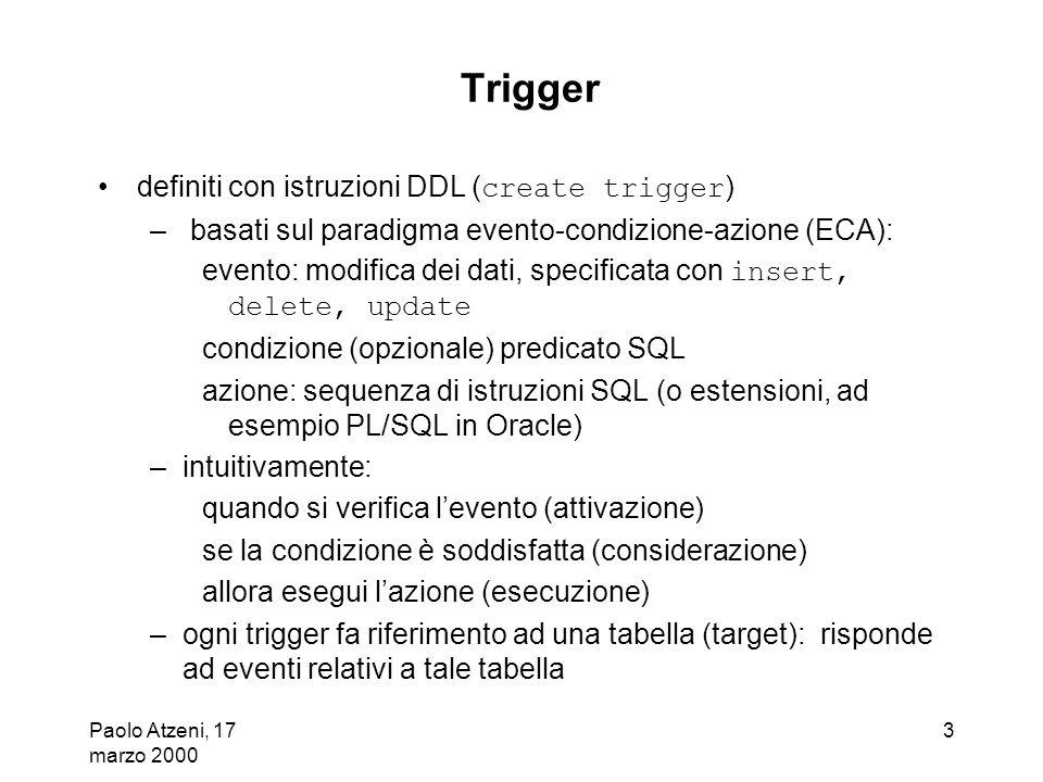 Paolo Atzeni, 17 marzo 2000 3 Trigger definiti con istruzioni DDL ( create trigger ) – basati sul paradigma evento-condizione-azione (ECA): evento: mo
