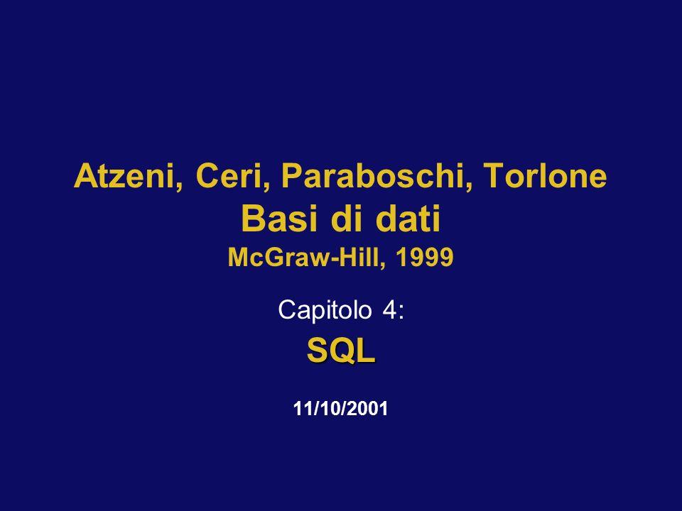 11/10/2001Atzeni-Ceri-Paraboschi-Torlone, Basi di dati, Capitolo 4 12 CREATE TABLE, esempio CREATE TABLE Impiegato( Matricola CHAR(6) PRIMARY KEY, Nome CHAR(20) NOT NULL, Cognome CHAR(20) NOT NULL, Dipart CHAR(15), Stipendio NUMERIC(9) DEFAULT 0, FOREIGN KEY(Dipart) REFERENCES Dipartimento(NomeDip), UNIQUE (Cognome,Nome) )