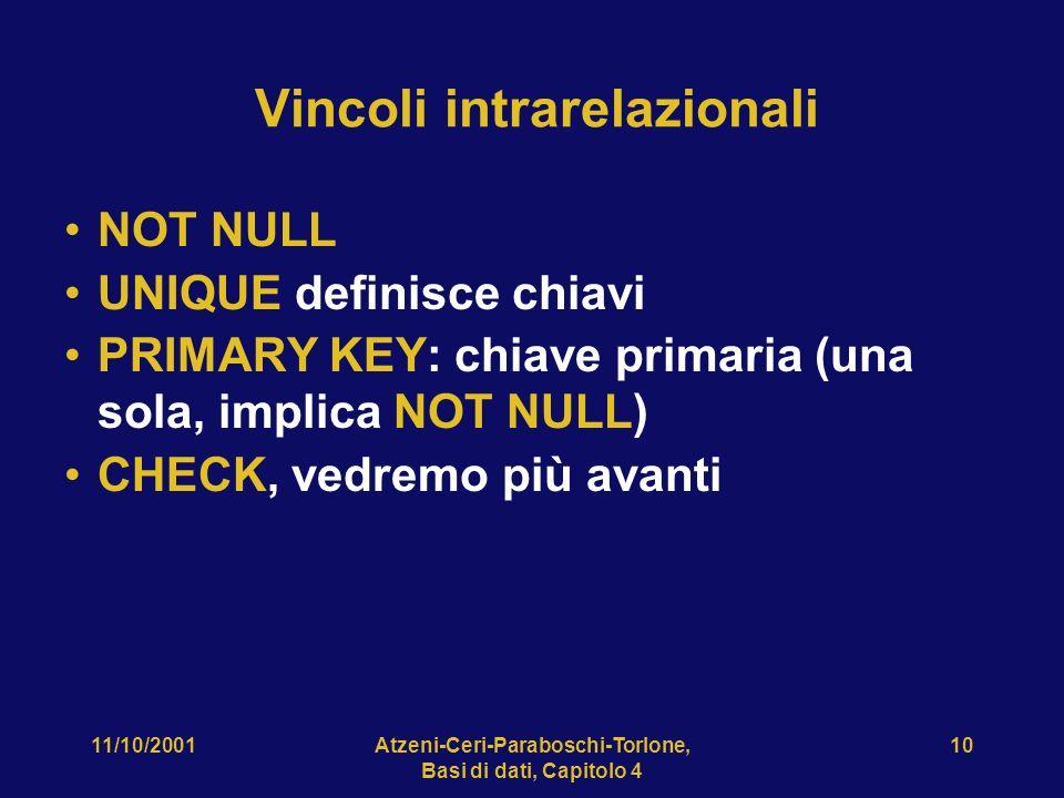 11/10/2001Atzeni-Ceri-Paraboschi-Torlone, Basi di dati, Capitolo 4 10 Vincoli intrarelazionali NOT NULL UNIQUE definisce chiavi PRIMARY KEY: chiave pr