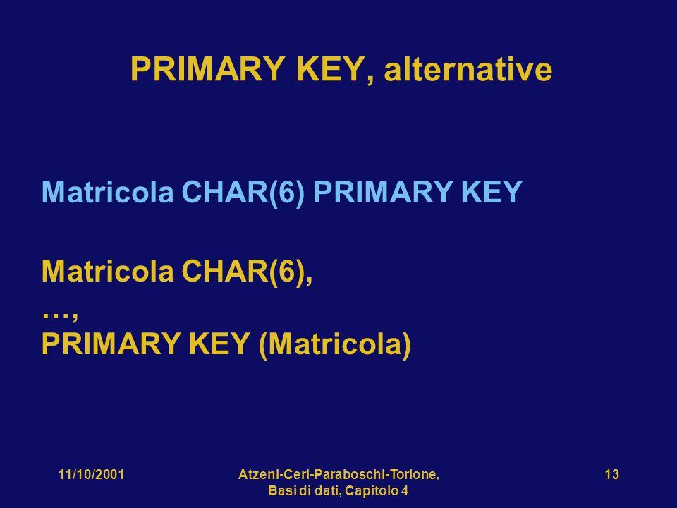 11/10/2001Atzeni-Ceri-Paraboschi-Torlone, Basi di dati, Capitolo 4 13 Matricola CHAR(6) PRIMARY KEY Matricola CHAR(6), …, PRIMARY KEY (Matricola) PRIM