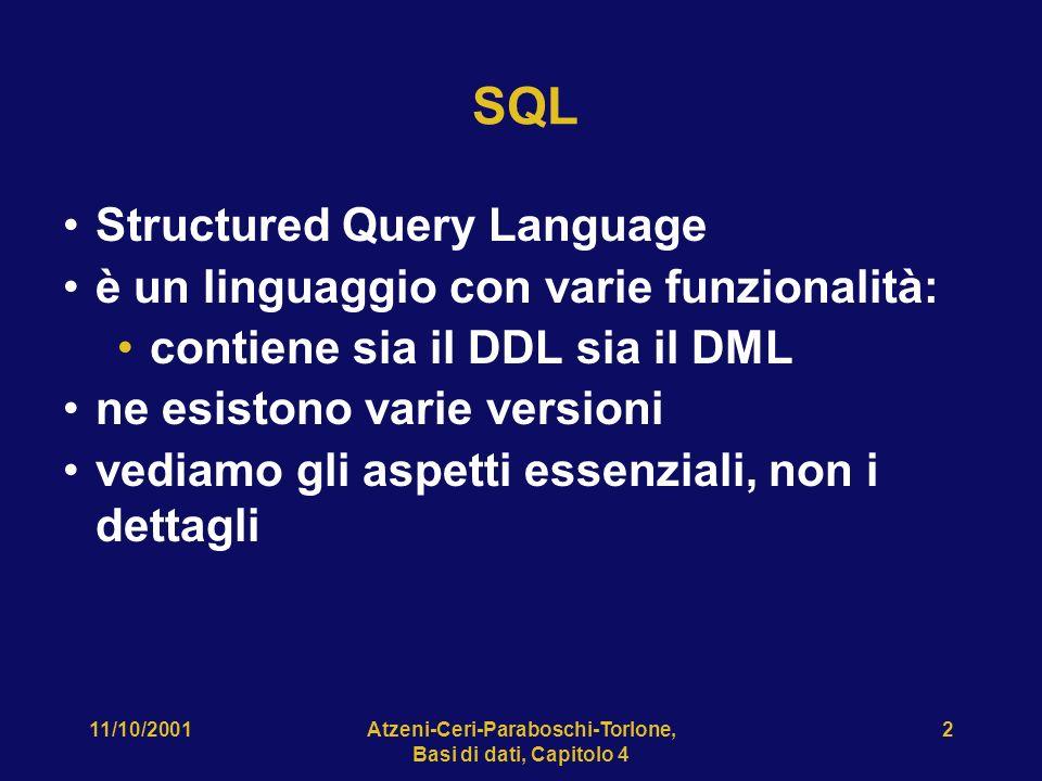 11/10/2001Atzeni-Ceri-Paraboschi-Torlone, Basi di dati, Capitolo 4 3 SQL: storia prima proposta SEQUEL (1974); prime implementazioni in SQL/DS e Oracle (1981) dal 1983 ca.