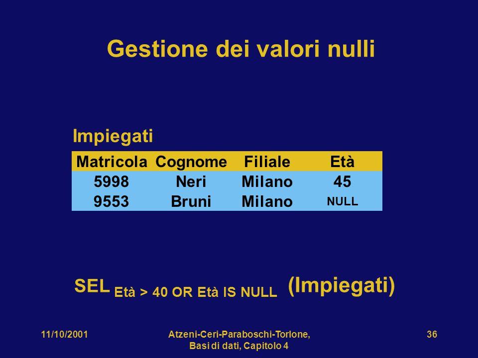 11/10/2001Atzeni-Ceri-Paraboschi-Torlone, Basi di dati, Capitolo 4 36 CognomeFilialeEtàMatricola NeriMilano455998 RossiRoma327309 BruniMilano NULL 955
