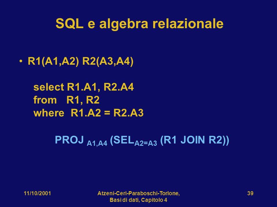 11/10/2001Atzeni-Ceri-Paraboschi-Torlone, Basi di dati, Capitolo 4 39 SQL e algebra relazionale R1(A1,A2) R2(A3,A4) select R1.A1, R2.A4 from R1, R2 wh