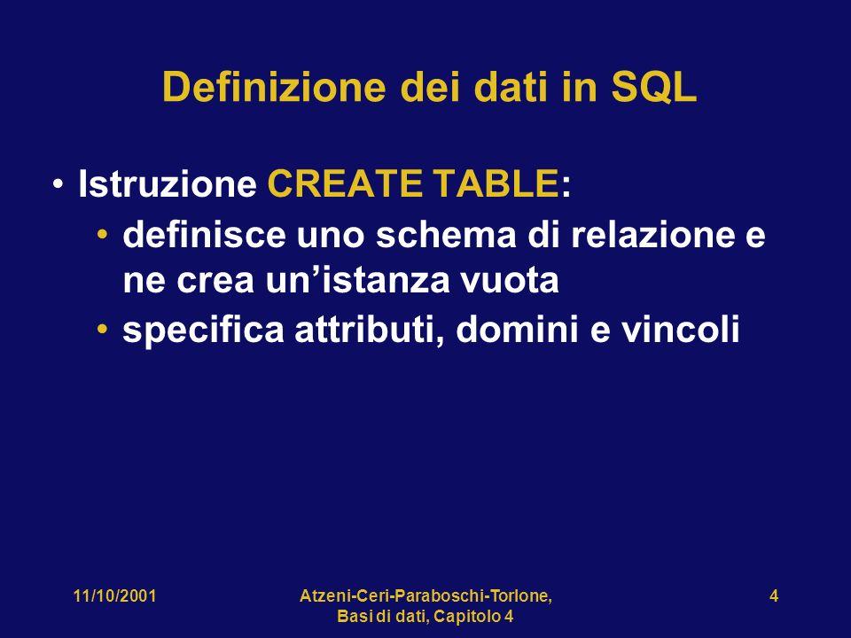 11/10/2001Atzeni-Ceri-Paraboschi-Torlone, Basi di dati, Capitolo 4 5 CREATE TABLE, esempio CREATE TABLE Impiegato( Matricola CHAR(6) PRIMARY KEY, Nome CHAR(20) NOT NULL, Cognome CHAR(20) NOT NULL, Dipart CHAR(15), Stipendio NUMERIC(9) DEFAULT 0, FOREIGN KEY(Dipart) REFERENCES Dipartimento(NomeDip), UNIQUE (Cognome,Nome) )