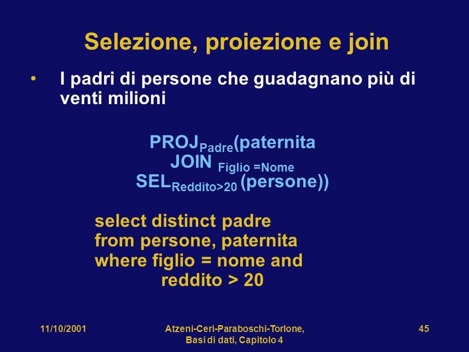 11/10/2001Atzeni-Ceri-Paraboschi-Torlone, Basi di dati, Capitolo 4 45 Selezione, proiezione e join I padri di persone che guadagnano più di venti mili