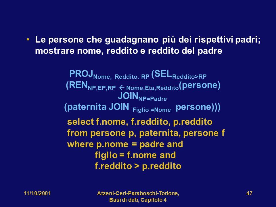 11/10/2001Atzeni-Ceri-Paraboschi-Torlone, Basi di dati, Capitolo 4 47 Le persone che guadagnano più dei rispettivi padri; mostrare nome, reddito e red